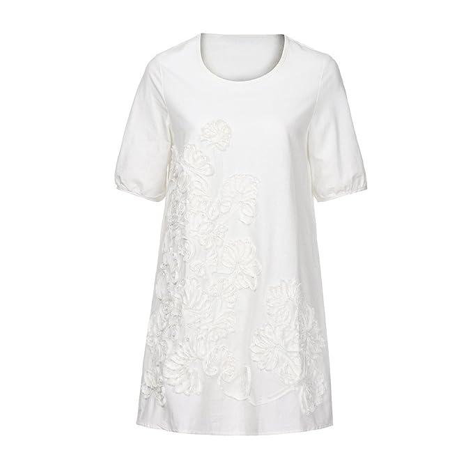 Briskorry Vestido de Lino y algodón Falda de Manga Corta Bordado ...