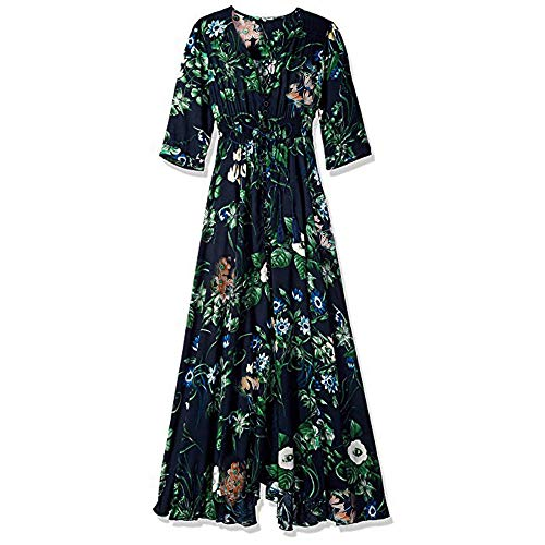 - Wedding Dress,Chaofanjiancai Women Floral Print Button Up Split Flowy Party Maxi Dress Summer Beach Casual Dress Blue