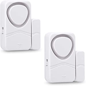 Wsdcam Door and Window Alarms for Home Security, 110dB Magnetic Sensor Alarm, Pool Door Alarm for Kids Safety, 4-in-1 Mode Small Wireless Door Alarms 2 Pack - White