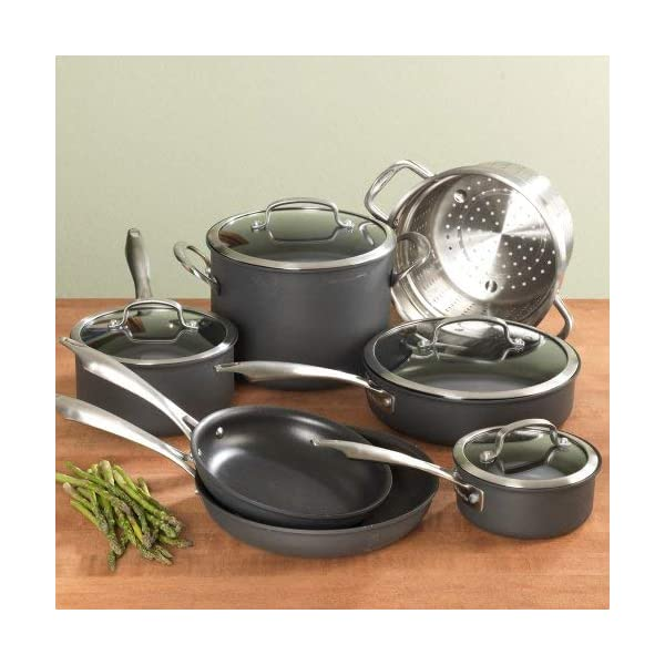 Cuisinart Dishwasher Safe Hard-Anodized 11-Piece Cookware Set, Black 2