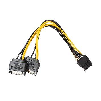 Deanyi - Cable de alimentación Doble SATA de 15 Pines a 8 P ...