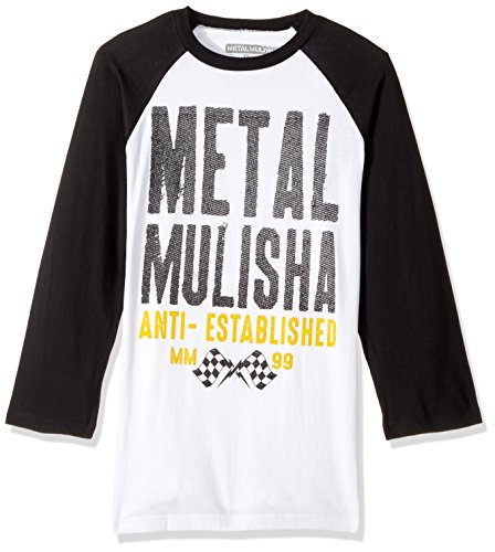Metal Mulisha Men's First Raglan T-Shirt, White/Black, Medium