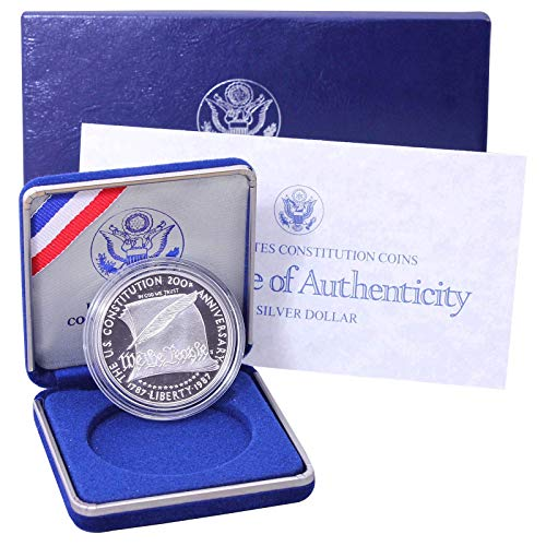 1987 S Constitution Bicentennial Commemorative 90% Silver Dollar in Box US Mint Gem Deep Cameo Proof