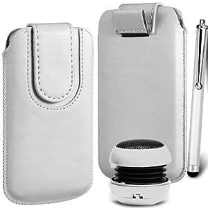 N4U Online Premium cuero de la PU del caso del tirón Tirar Tab cubierta de bolsa Con magnética Cierre de correa, Stylus Pen & Mini altavoz portable para Samsung Galaxy Pocket Neo S5310 - Blanco