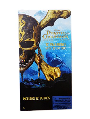 Disney Pirates of the Caribbean Dead Men Tell No Tales Valentine Day Sharing Cards for Kids with Tattoos ()