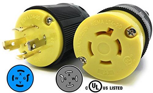 (Journeyman-Pro 20 Amp, Plug & Connector Set, NEMA L14-20R & L14-20P, 125/250V, Locking Plug Socket, Black Industrial Grade, Grounding 5000 Watts Generators (L14-20PR PLUG SET))