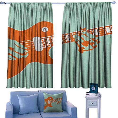 ParadiseDecor Guitar Kitchen Curtains Creative Musician Playing Jamming Instrument Acoustic Performing Vintage,Backout Draperies for Chidren Bedroom,W63 x L45 Inch