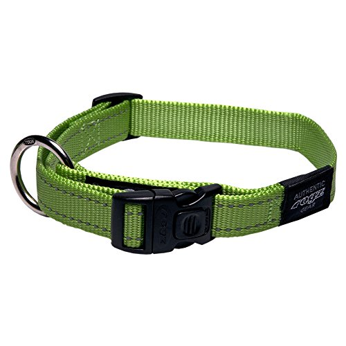 ROGZ Reflective Dog Collar for Large Dogs, Adjustable from 13-22 inches, Green ()