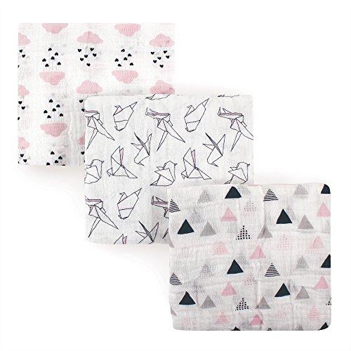 Hudson Baby Muslin Swaddle Blankets, Paper Birds, One Size