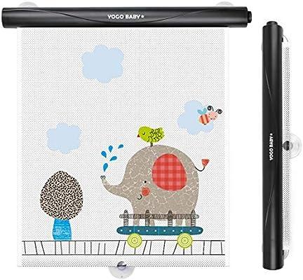 Car Roller Sunshade Deluxe Set of 2 Kids Giraffe Retractable Car Window Sunshade Black Roller for Neat Look When not in use Blocks Sun /& Keeps Car Cool