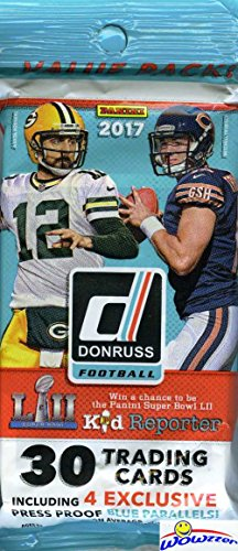 2017 Donruss NFL Football Factory Sealed Jumbo Fat Pack with 30 Cards Including (4) EXCLUSIVE Press Proof Blue Parallels! Look for RCs & Autographs of Deshaun Watson,Mitchell Trubisky & More! WOWZZER