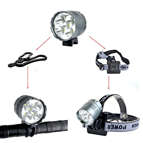 1 Pcs Prime Popular Style 3 Switch Mode 8000Lm 5x LED Bike Lights Camping Lamp Rechargeable Bicycle Torch Color (Ivy Dimmer)