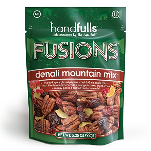Fusions Denali Mountain Mix (3-Pack) Salty & Sweet Trail Mix by Handfulls. Glazed pecans, apple chips, cherries & cranberries. Gluten-free, Non-GMO, OU Kosher, Vegetarian (3.25 oz bags)