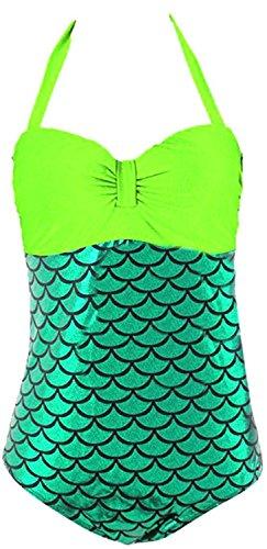 David Salc Women's Halter Splice Mermaid Plus Size Bikini Swimwear Sets (Bars In Toronto For Halloween)