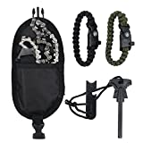 Proxiam Direst Chain Saw 24 inch 33pcs Serrated Chain Saw Survival Hand Gear Saw Emergency Camping Kit with Flintstones and Paracord Bracelet