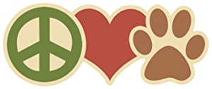 "Paper House Productions 4"" x 1.75"" Die-Cut Peace, Love, Paw Dog Lover Magnet for Refrigerators and Lockers"