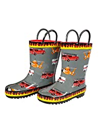 Foxfire for Kids Gray Rubber Boot with Flame Trim and Rescue Equipment