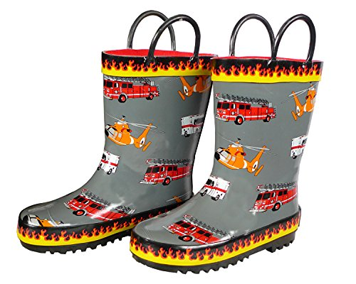 (Foxfire For Kids Gray Rubber Boot Flame Trim Fire Truck Helicopter Ambulance Size 1)