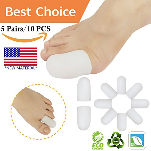 - Gel Toe Caps Toe Protectors Toe Sleeves *New Material* for Blisters, Corns, Hammer Toes, Ingrown Toenails, Toenails Loss, Friction Pain Relief and More(10 Pcs White)