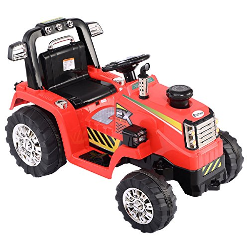 Costzon 12V Battery Powered Kids Ride On Tractor Electric Toys W  Mp3 Led Lights Red