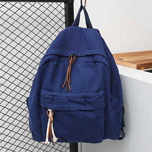 Dark Solid Satchel Sagton Bookbags Backpack School Color blue Women Canvas Men Backpack OOnzqvwtR
