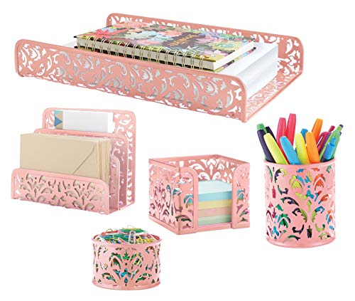 Pink 5-Piece Metal Desk Accessories, Desk Organizer & Desk Decor Set, Cute Office Decor Provides Great Office Organization for Women or Room Decor for Teen Girls