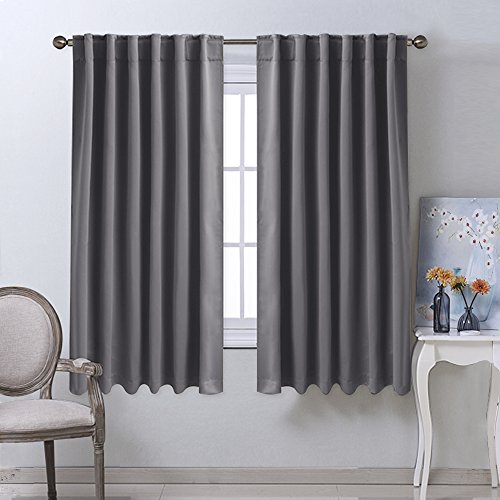 Blackout Curtain Panels For Living Room   (Grey Color) 52x63 Inch, 2 Panels  Set, Room Darkening Blackout Drapes For Window By NICETOWN