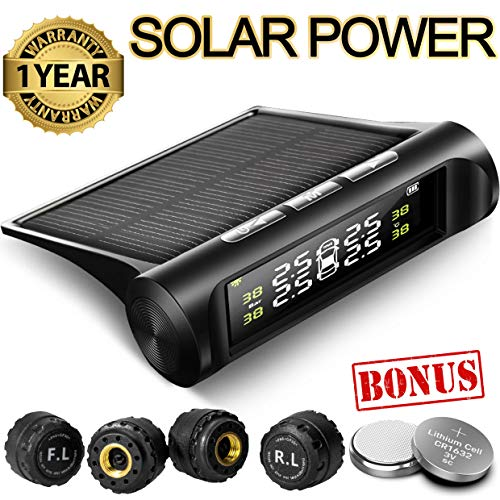 Aftermarket Tire Pressure Monitoring System TPMS Solar Power Universal Wireless with 4 External Sensors Real-time Display 4 Tires' Pressure & Temperature 22-87 PSI [2 More Battery] Pressure Gauge Auto (Best Tire Pressure Monitoring System)
