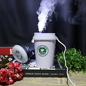 Air Humidifier, 300ml Creative Coffee Cup Shaped USB Mini Air Humidifier for Home Office Vehicle