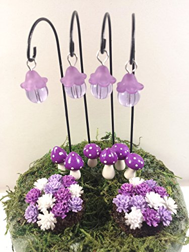 Miniature lanterns, mushrooms, flower beds. Purple 12 piece fairy garden accessories set.