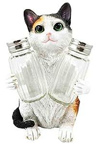 American Favorite Pet Playful Calico Cute Kitty Cat Figurine Salt Pepper Shakers Holder Kitchen Decor Centerpiece
