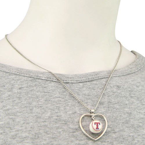 [Texas Rangers - MLB Mini Baseball Heart Pendant Necklace] (Mlb Jewelry)
