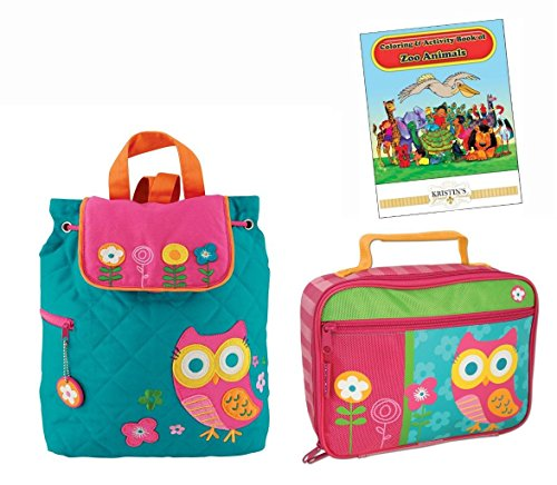 Stephen Joseph Quilted Backpack  Lunch Box  And Coloring Book Set  Teal Owl