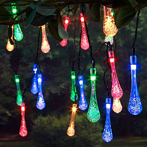 quality design 655ce 7fa26 Maxxtek 30 LED Solar Powered Raindrop Teardrop Garden String Fairy  Lights/Icicle Lights/LED Waterproof Garden, Fence, Christmas, Tree, Home,  Holiday, ...