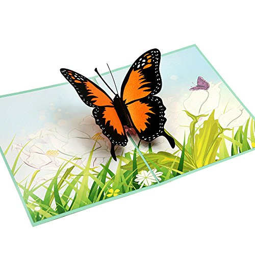 HUNGER Handmade 3D Pop Up Butterfly Birthday Cards Creative Greeting Cards Papercraft (Butterfly Birthday Cards)