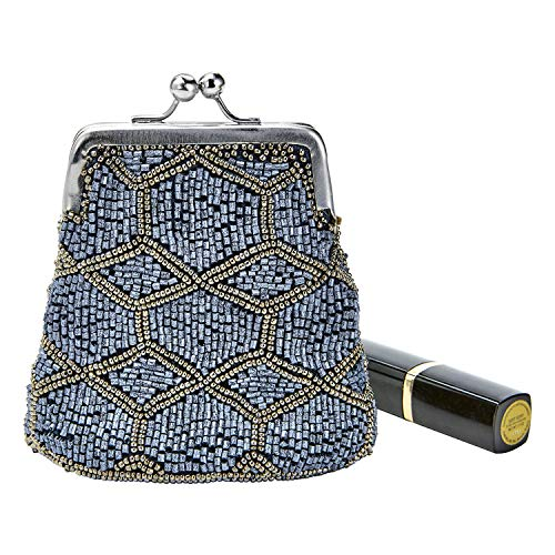 Catalog Classics Women's Beaded Kiss Lock Clasp Bag - Decorative Coin Purse - Midnight Lattice - Antique Purse Coin