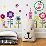 girl decals - Flower Wall Stickers for Kids - Floral Garden Wall Decals for Girls Room - Removable Toddlers Bedroom Vinyl Nursery Wall Décor [27 art clings] with FREE BIRD GIFT!