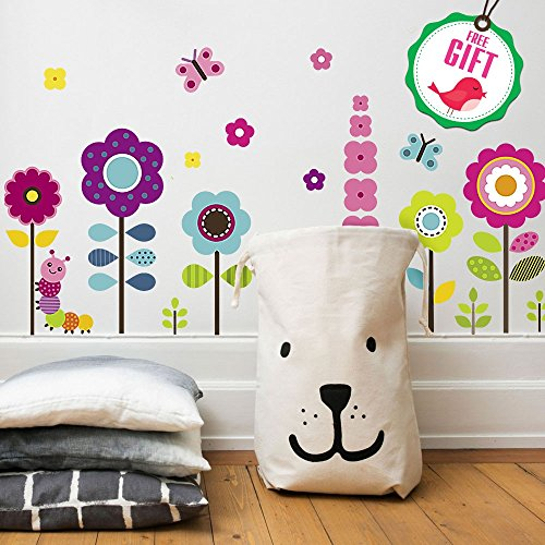 Flower Wall Stickers for Kids - Floral Garden Wall Decals for Girls Room - Removable Toddlers Bedroom Vinyl Nursery Wall Décor [27 Art clings] with Free Bird Gift! (Flowers Vinyl)