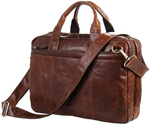 Berchirly Leather Laptop Bag 15inch Waxed Oil Shoulder Messenger Bag Office Briefcase for Men