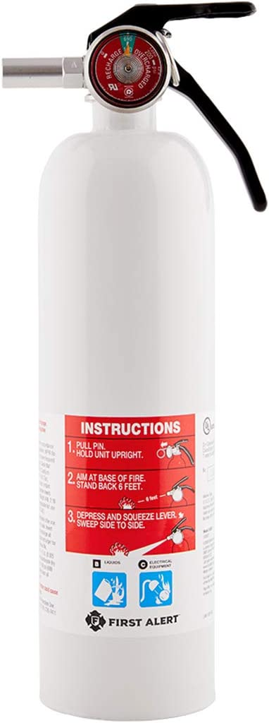 First Alert Fire Extinguisher | RecreationVehicle and Marine FireExtinguisher, White, Rechargeable, REC5 - -