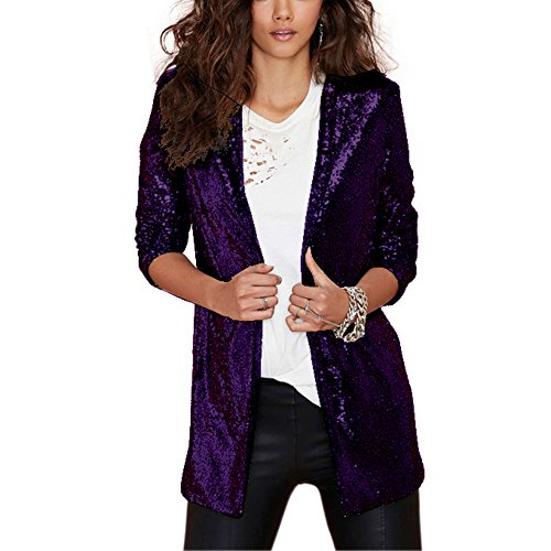 IRISIE Women Sparkle Sequins Open Front Long Sleeve Blazer Jacket (Large, Purple)
