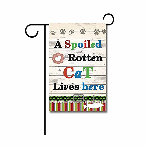Hamory a Spoiled Rotten Cat Lives Here Fish Heart Decorative Garden Flag Cute Kitty Paws Wooden Home Decor Banner for Outside 12X18 Inch Print Both Side ()