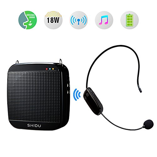 Voice Amplifier with Wireless Microphone Headset SHIDU 18 W 2.4G Rechargeable Portable Microphone and Speaker with Waistband Support MP3 Format Audio Voice Amplifier for Teachers, Tour Guides, Coache