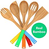 Vremi 5 Piece Bamboo Spoons Cooking Utensils - Wooden Spoons and Spatula Utensil Set - Bamboo Wood Nonstick Cooking Spoons for Kitchen with Colorful Silicone Handles in Red Yellow Green Orange Blue