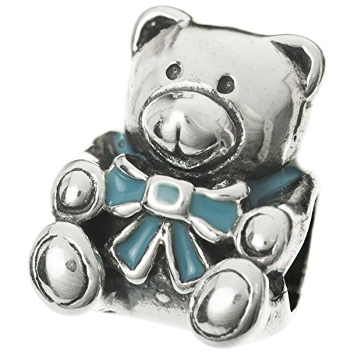 Dreambell 925 Sterling Silver Blue Enamel Cute Teddy Bear Screw-on Bead For European Charm Bracelet