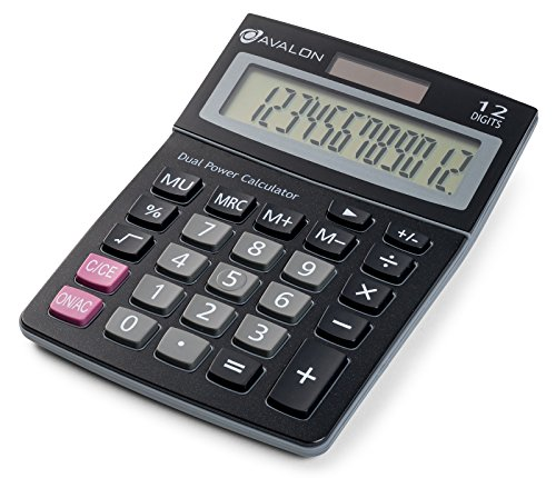 Avalon 12 Digit Dual Powered Desktop Calculator, Tilted LCD Display, ()