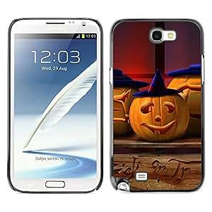 Samsung Note 2 N7100 - Metal de aluminio y de plástico duro Caja del teléfono - Negro - Halloween Pumpkin Witch
