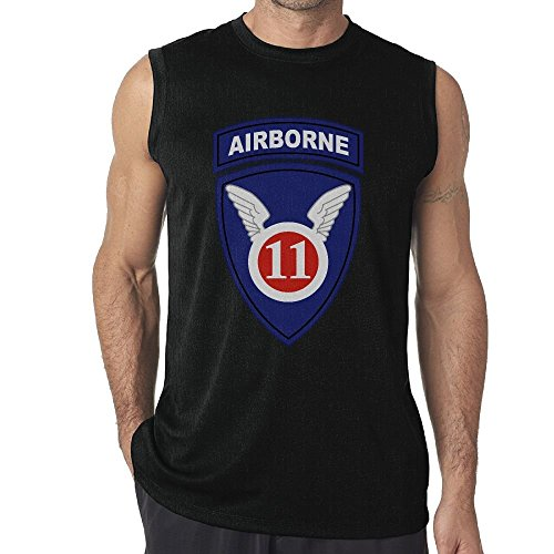 CRISLESS Army 11th Airborne Division Mens Sleeveless Tshirt Athletic T-Shirt Tank Top ()