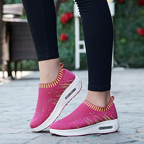 Zapatos Con Alikeey Mujer Ligeras Aire Gruesa La Suela Caliente Rosa Malla Casual Exterior Deportivos Cojin Zapatillas De qrttX6n5w