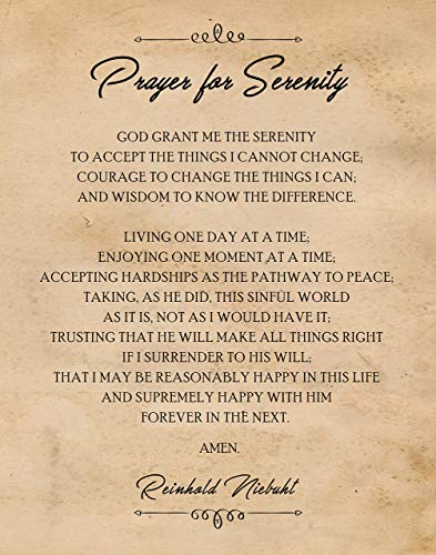 Original Prayer For Serenity Poster Print- Set of 1 (One 11x14) Unframed Picture- Great Wall Art Decor Gifts Under $15 for Home, Office, Garage, Man Cave, Sunday School-Church, Teacher, Mentor, Coach